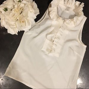 J. Crew White Frill Collar Tank Top.